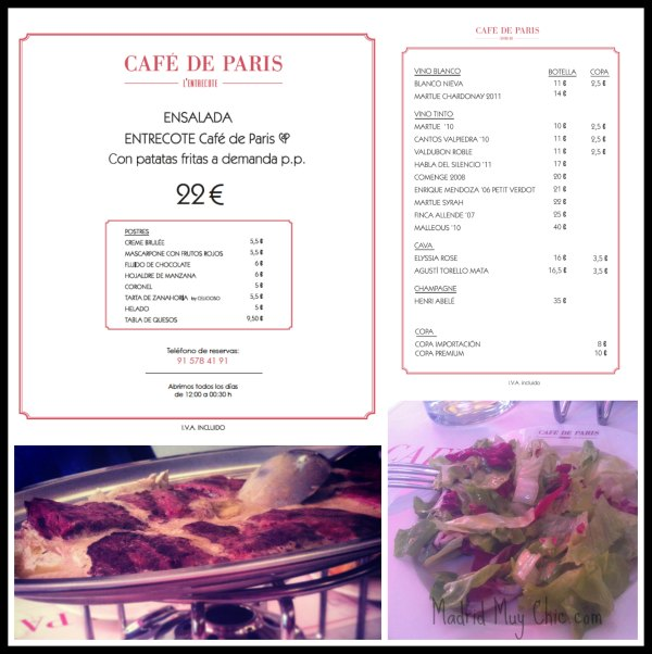 Cafe de paris menu