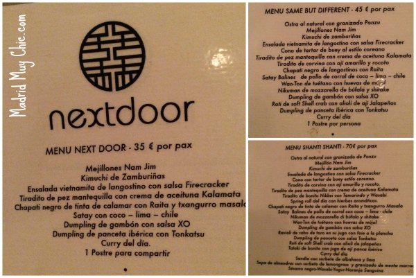 Asiana Next Door Menus