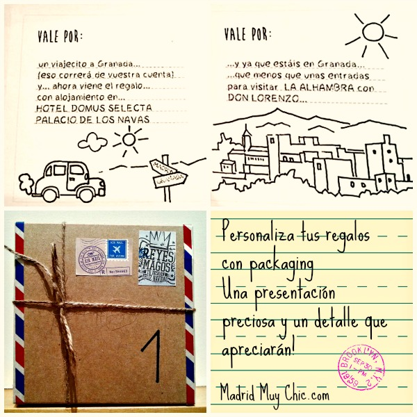 Sólo hay que imprimir las tarjetas del tamaño de la caja. Esta está decorada con washi-tape de Holamama,cordón y unas pegatinas