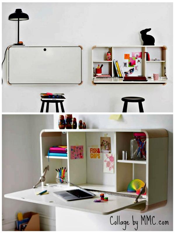 colgar el escritorio de la pared ahorra mucho espacio y les obligar a ser muy ordenados