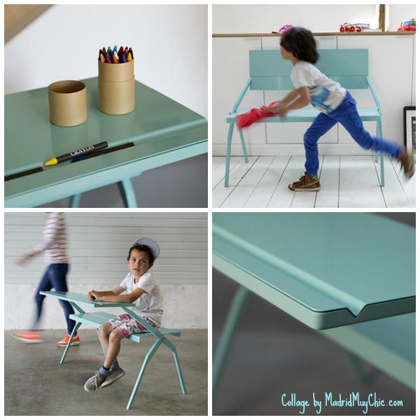 Obviamente moderno, este escritorio de líneas puras encaja en cualquier decoración y es también un práctico banco para cuando hay que jugar!