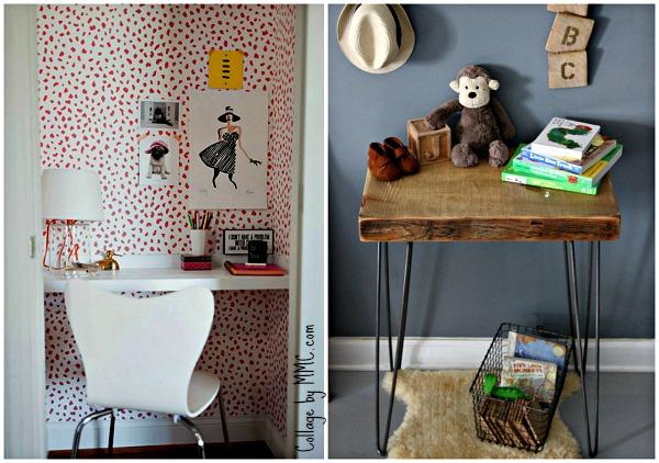 """Dos mini soluciones muy distintas: La primera muy """"girlie"""" en el hueco de un armario, y la segunda con madera recuperada ¡preciosa!"""