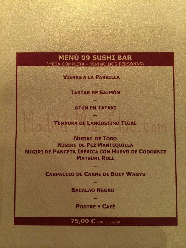 MMC 99 sushi menu