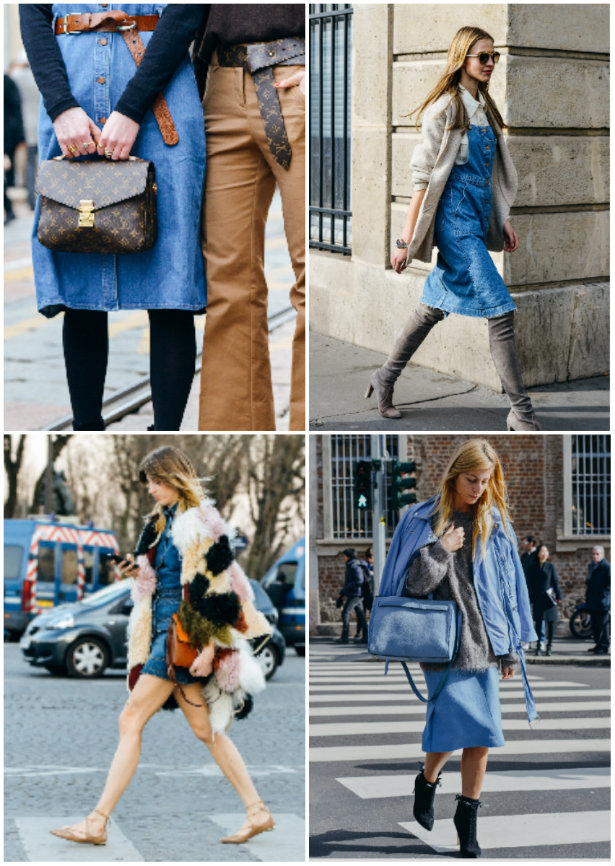 collage denim dresses