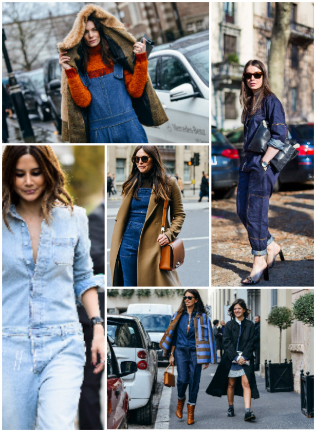 collage denim monos