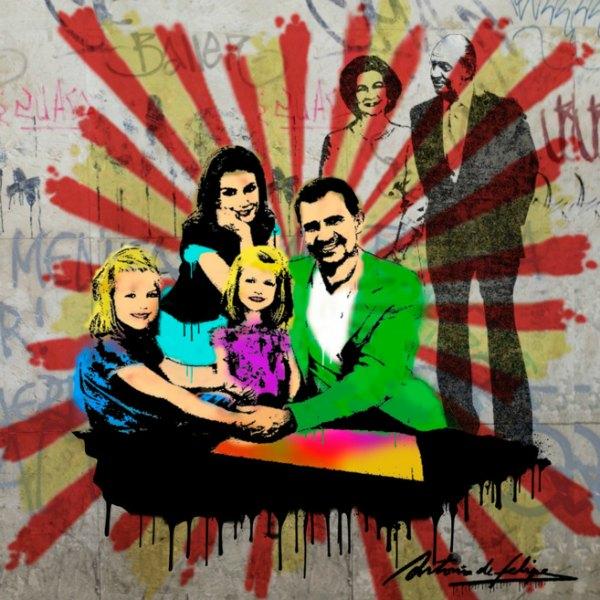 Grafitti Pop de Antonio de Felipe retrato de la familia real en Arts Club