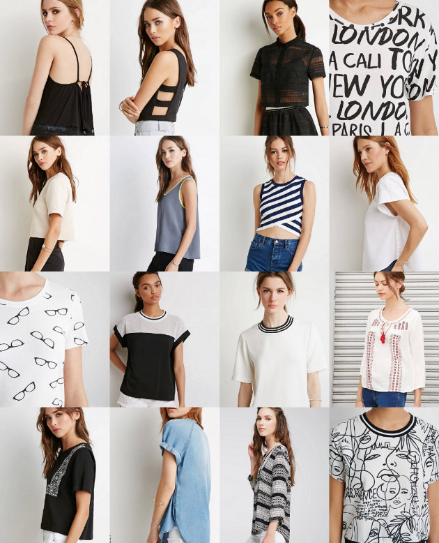 collage tops forever 21