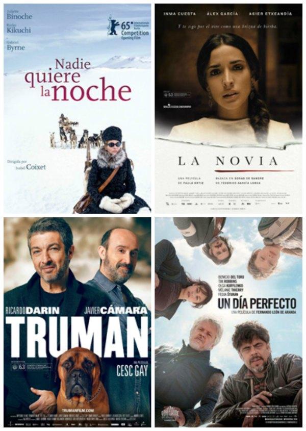 Películas candidatas al Goya.